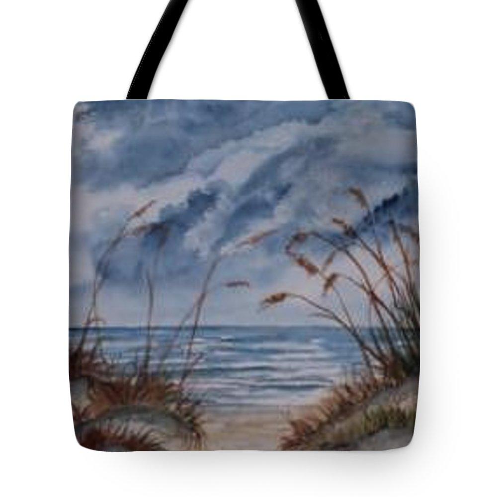 Watercolor Landscape Painting Seascape Beach Tote Bag featuring the painting DUNES seascape fine art poster print seascape by Derek Mccrea