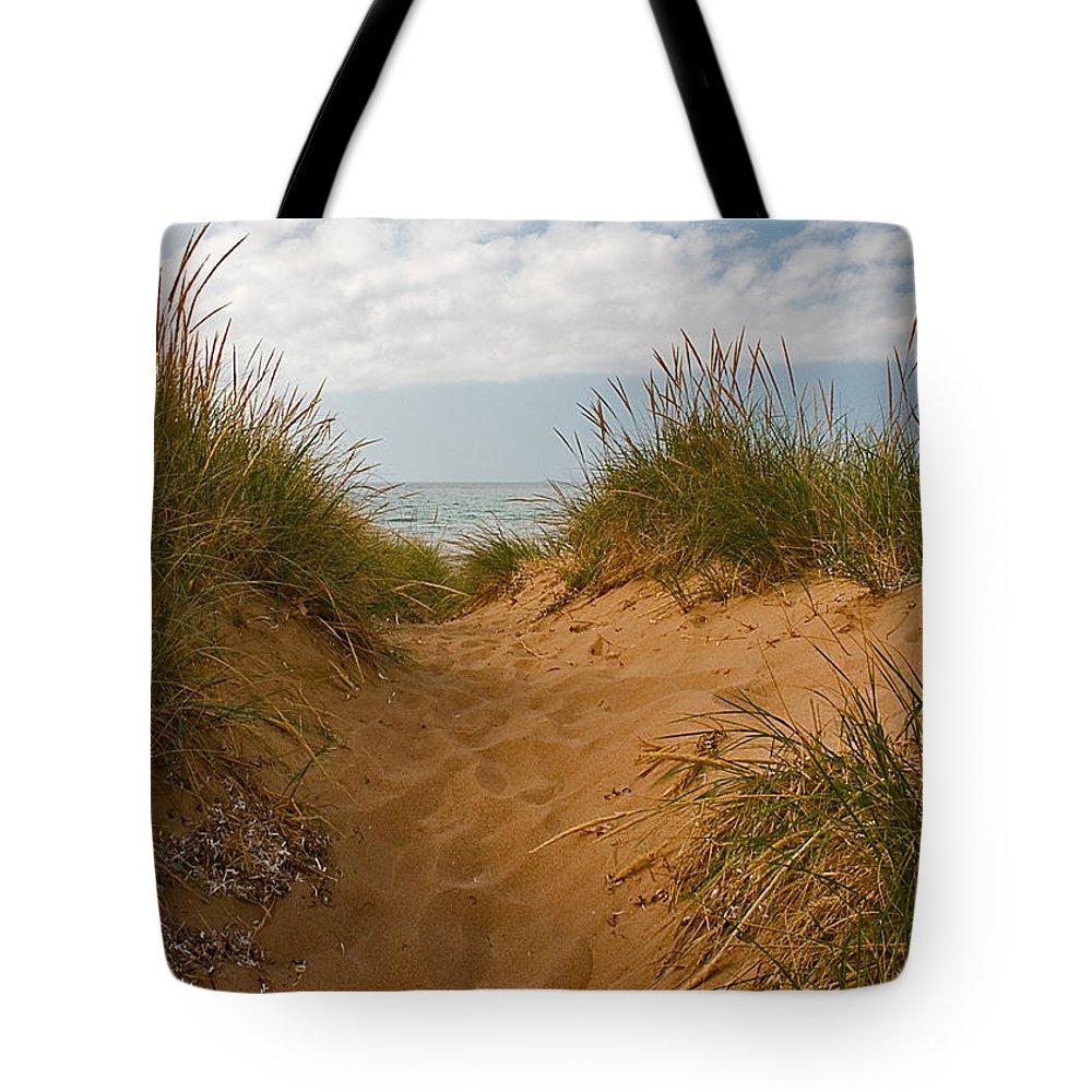 Dunvegan Nova Scotia Beach Tote Bag featuring the photograph Nova Scotia's Cabot Trail Dunvegan Beach Dunes by Ginger Wakem