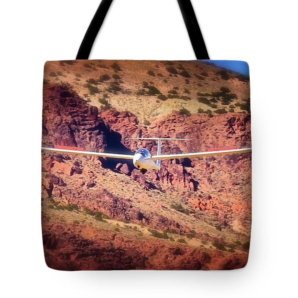 Transportation Tote Bag featuring the photograph Duo Discus Over Red Rocks Air Sailing Nevada by Gus McCrea