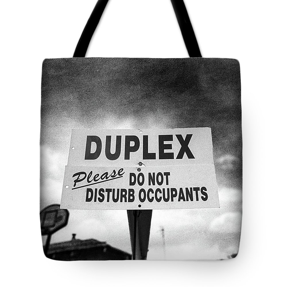 Black Tote Bag featuring the photograph Duplex Yard Sign Stormy Sky In Bw by YoPedro