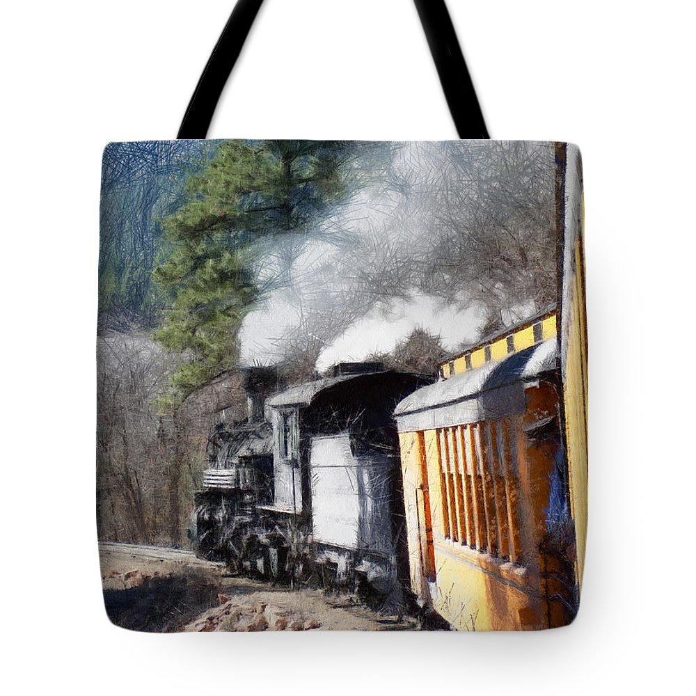Durango Tote Bag featuring the digital art Durango Silverton Painterly 2 by Ernie Echols