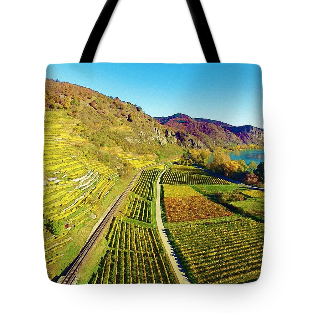 Nature Tote Bag featuring the painting Durnstein, Austria by Celestial Images