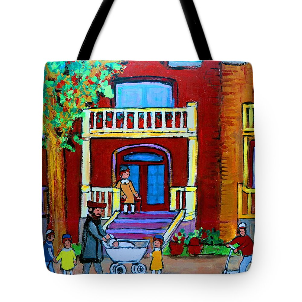 Judaica Tote Bag featuring the painting Durocher Street Montreal by Carole Spandau