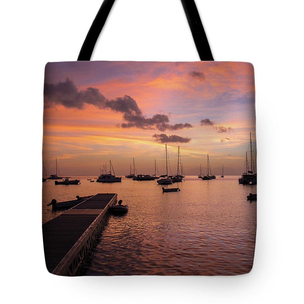 America Tote Bag featuring the photograph Dusk At Deshaies 2 by Riccardo Forte