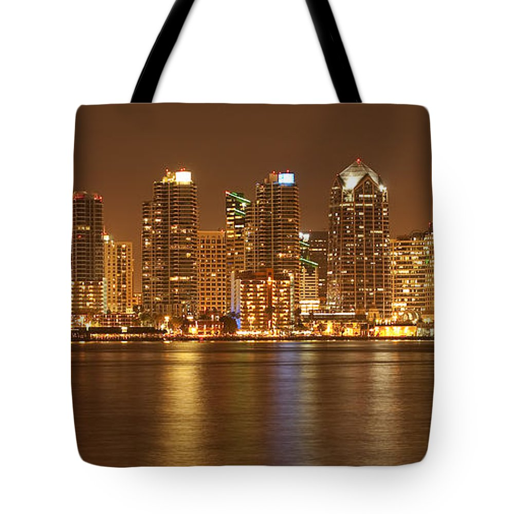 Panorama Tote Bag featuring the photograph Dusk At San Diego Harbor by Sandra Bronstein