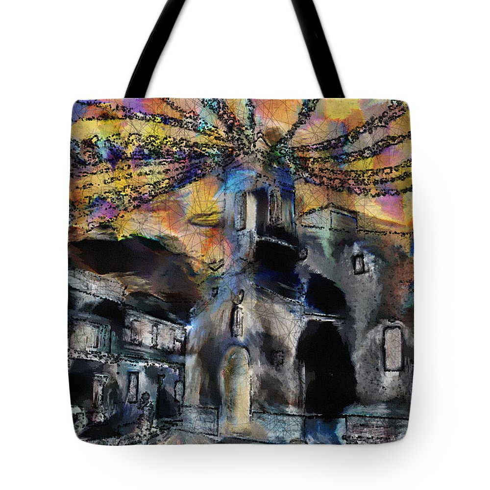 Ebsq Tote Bag featuring the photograph Dusk In The Church Square by Dee Flouton