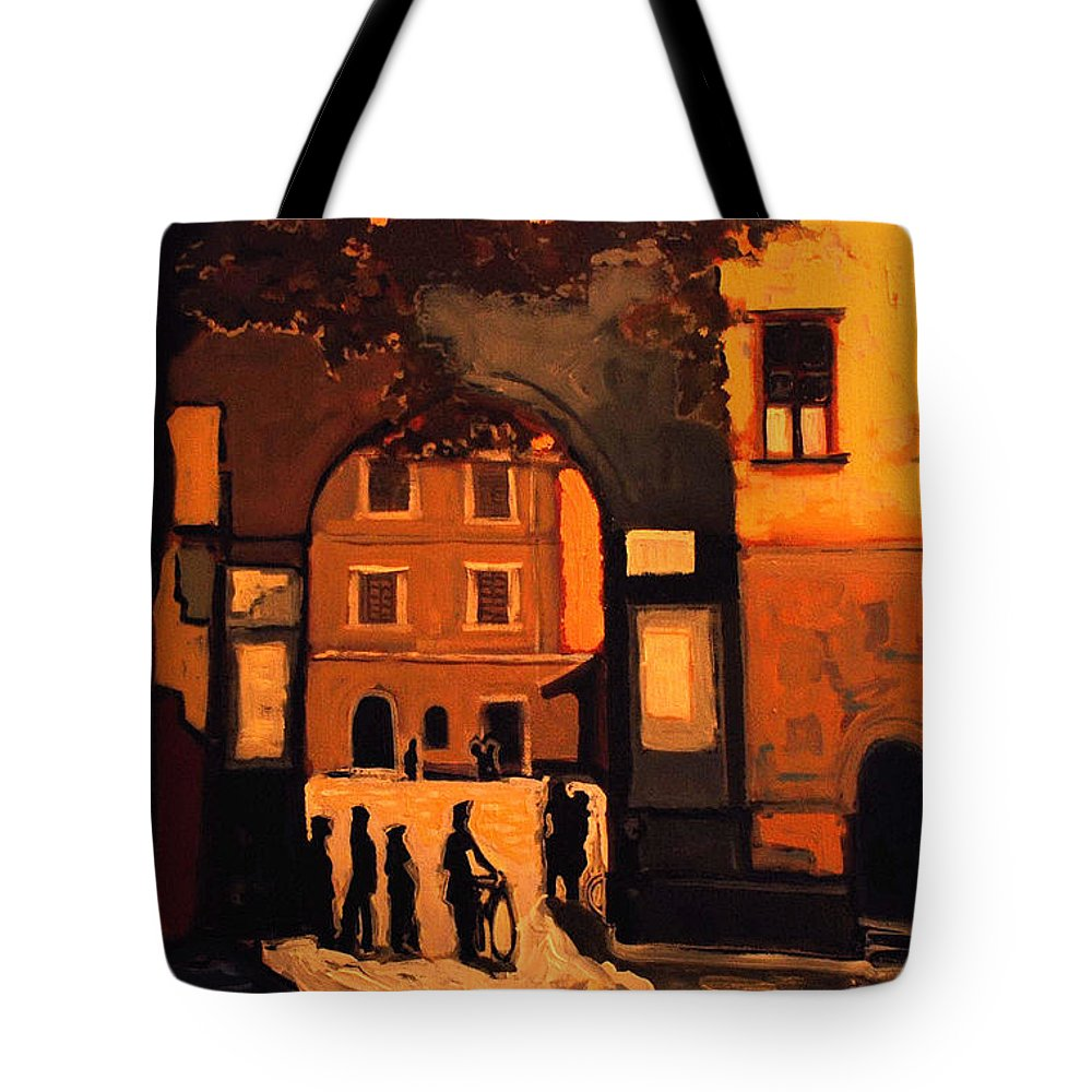 Cityscape Tote Bag featuring the painting Dusk by Kurt Hausmann