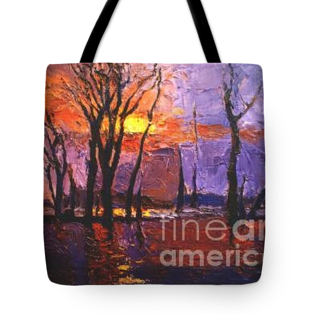 Dusk Tote Bag featuring the painting Dusk by Meihua Lu