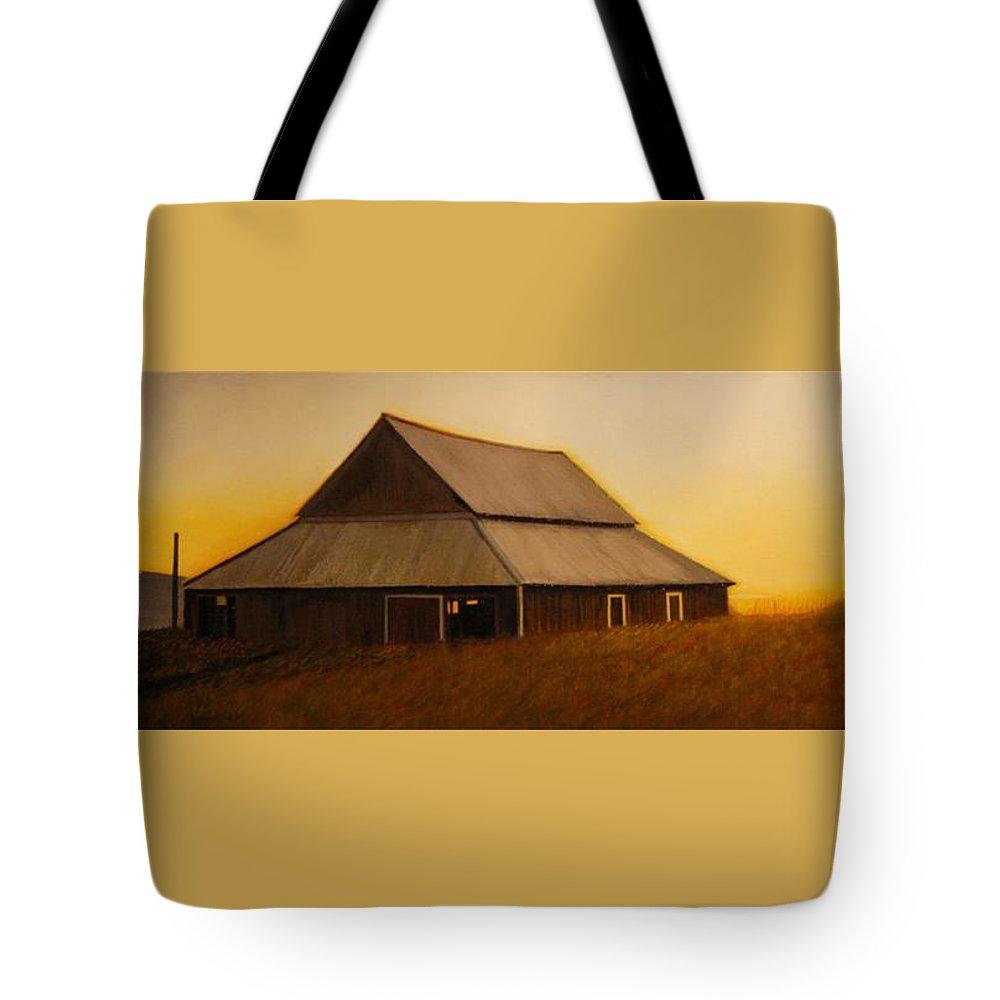 Sunrise Tote Bag featuring the painting Dusk near Union by Leonard Heid