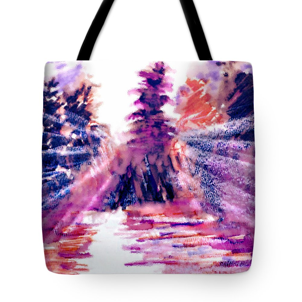 Dusk On The Lake Tote Bag featuring the mixed media Dusk on the Lake by Seth Weaver