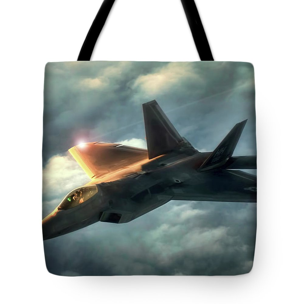 Aviation Tote Bag featuring the digital art Dusk Raptor by Peter Chilelli