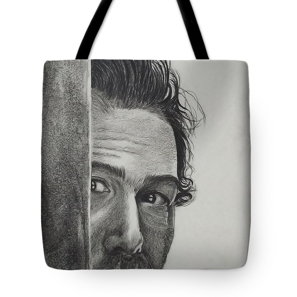 Portrait Tote Bag featuring the drawing Dustin Hoffman by Lise PICHE