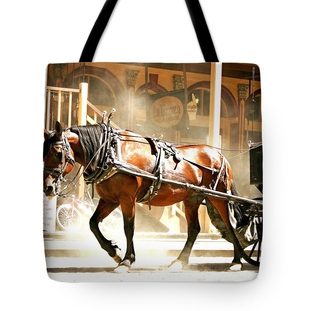 Gold Rush Days Tote Bag featuring the photograph Dusty Horse by Sally Bauer
