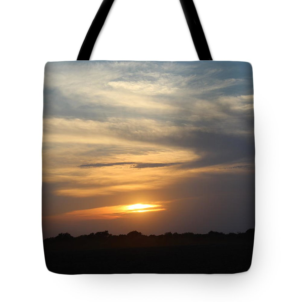 Kansas Tote Bag featuring the photograph Dusty Sunset In Kansas by Weathered Wood