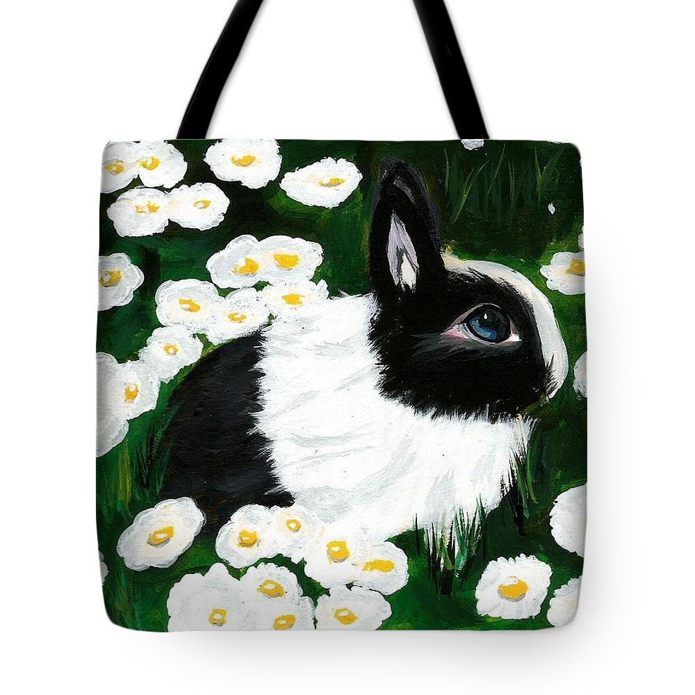 Dutch Bunny Daisies Acrylic Painting Black White Spring Easter Rabbit Impressionism Tote Bag featuring the painting Dutch Bunny with Daisies by Monica Resinger