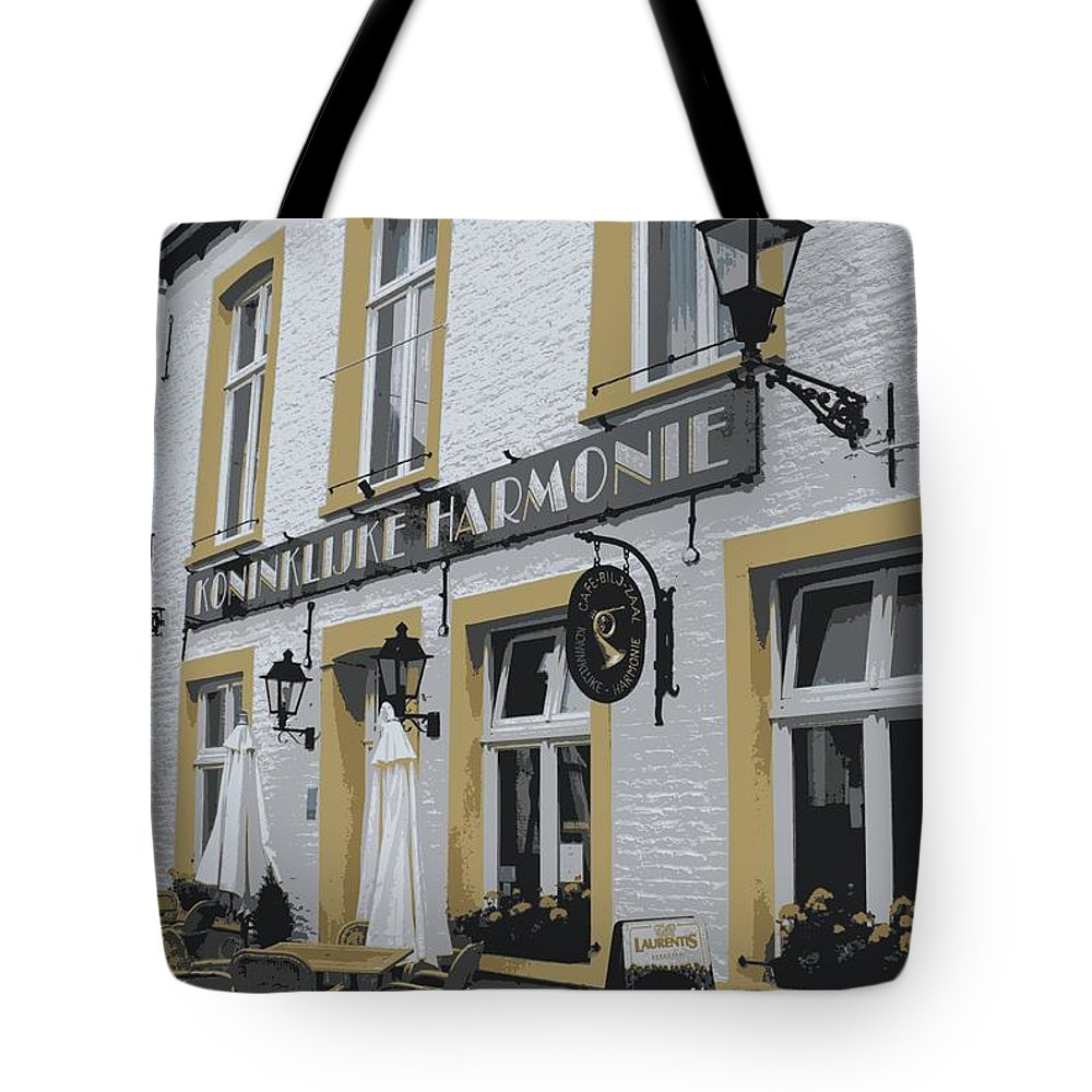 Gray And Yellow Tote Bag featuring the photograph Dutch Cafe - Digital by Carol Groenen