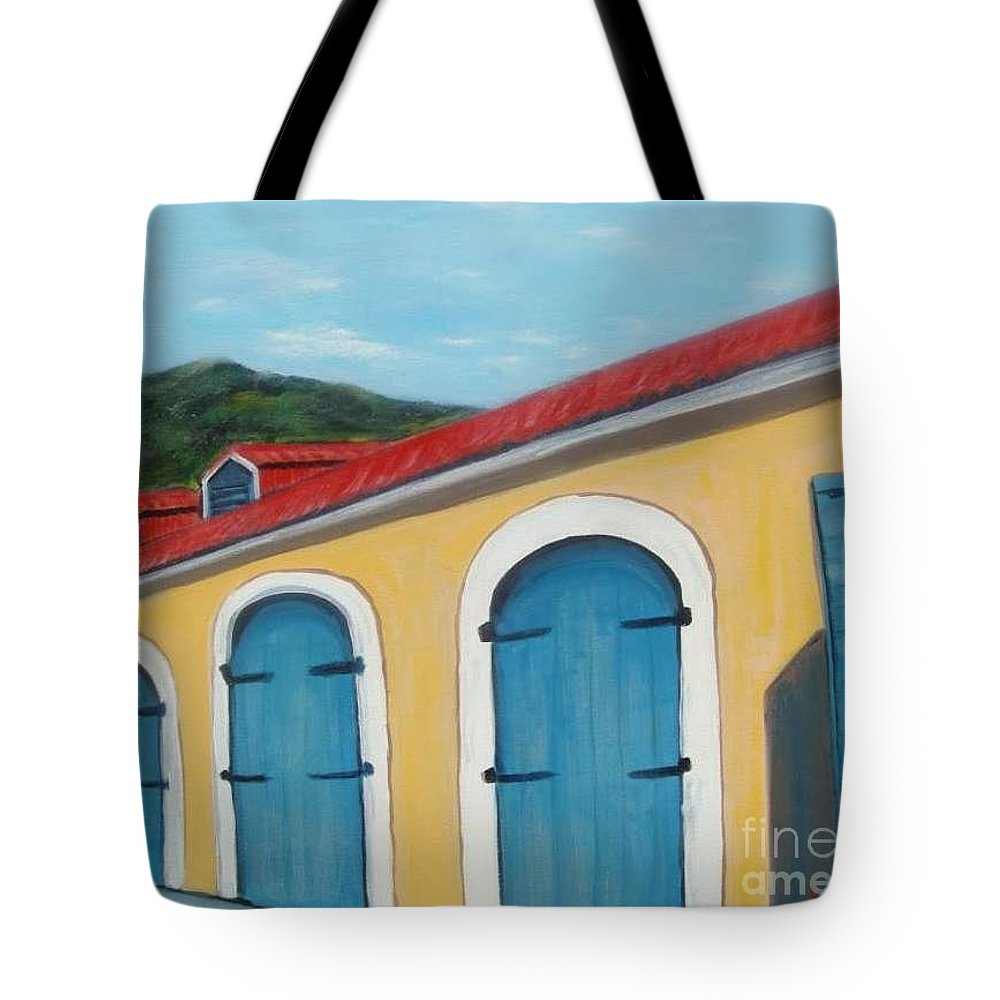 Doors Tote Bag featuring the painting Dutch Doors Of St. Thomas by Laurie Morgan