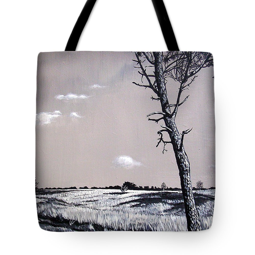 Duotone Tote Bag featuring the painting Dutch Heathland by Arie Van der Wijst