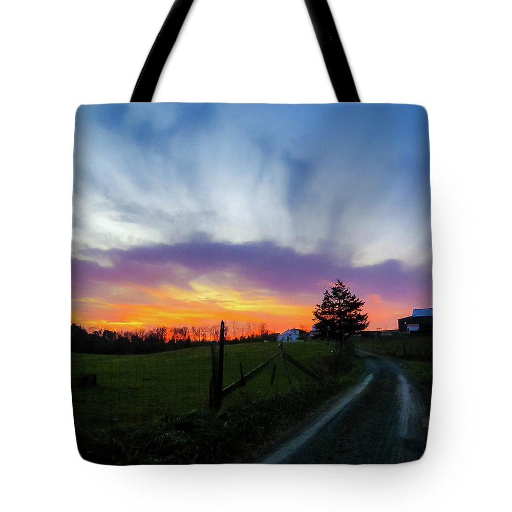 Beautiful Sky Tote Bag featuring the photograph Dutch Lane In Evening Sky by Amy Bishop