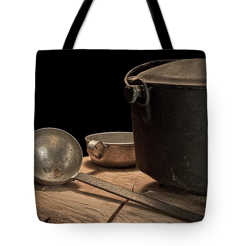 Kettle Tote Bag featuring the photograph Dutch Oven And Ladle by Tom Mc Nemar