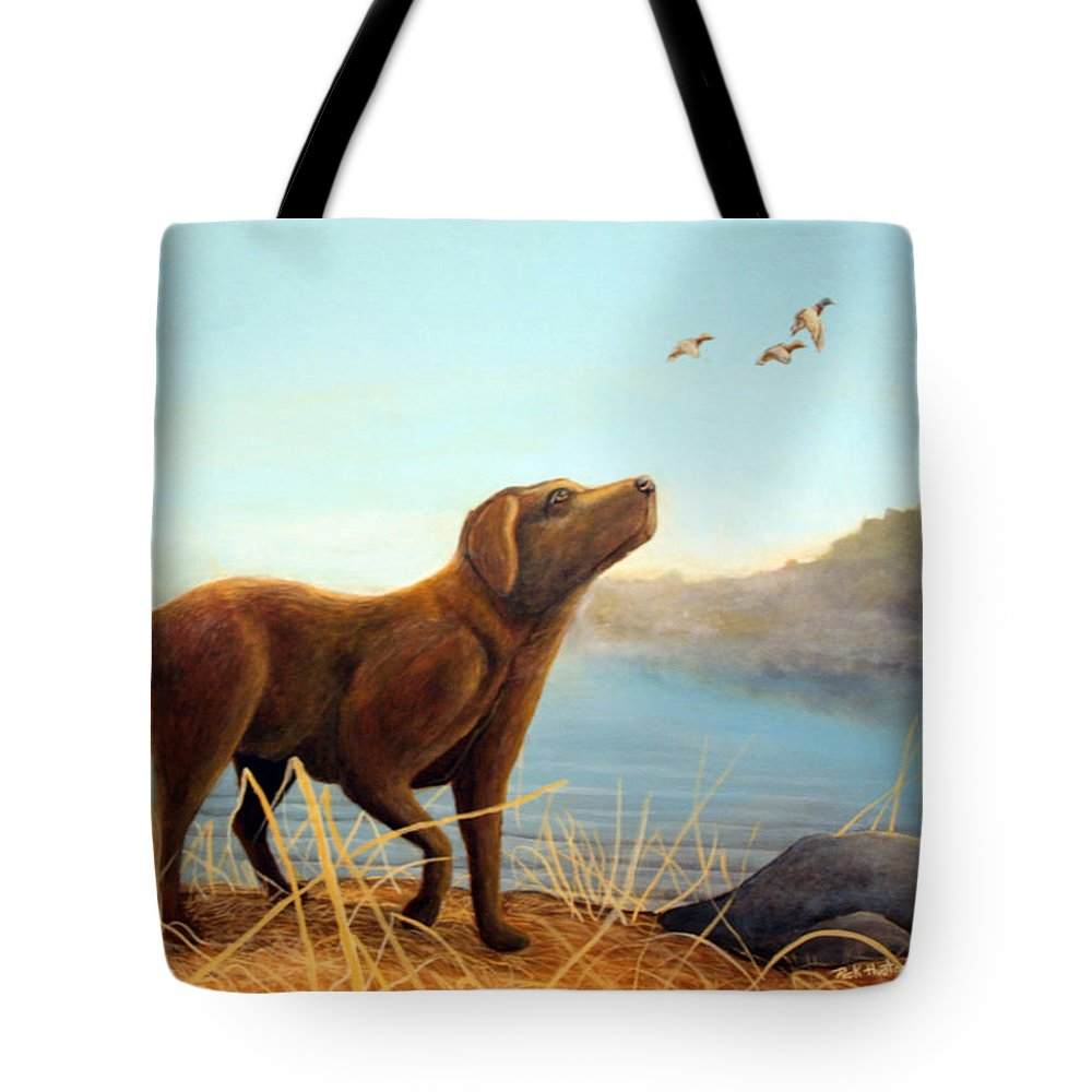Chocolate Lab Painting Tote Bag featuring the Dutch by Rick Huotari