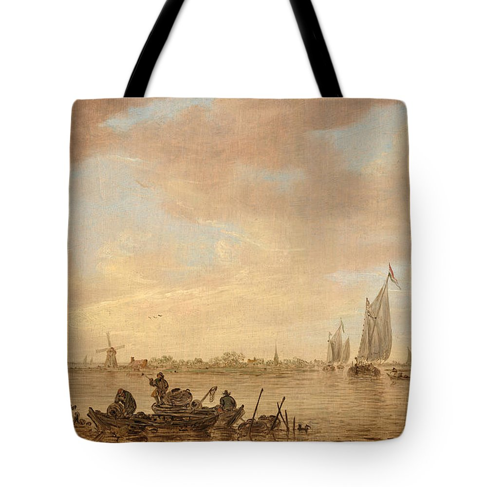 Landscape Tote Bag featuring the painting Dutch Seascape With Fishings Boats by Celestial Images