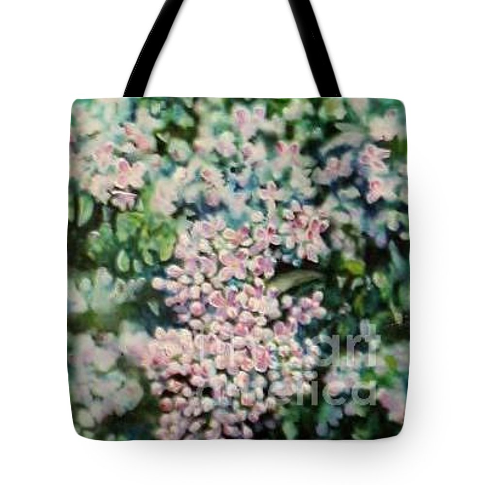 Lilacs Tote Bag featuring the painting Dwarf Korean Lilac by Karen Sloan