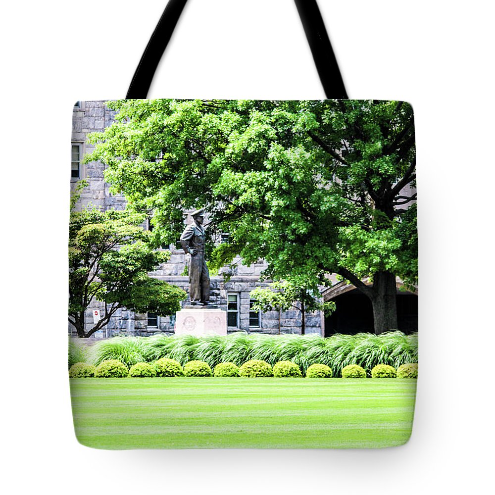 This Is A Photo Of The Life Size Statue Of Dwight D. Eisenhower Taken At West Point Military Academy Tote Bag featuring the photograph Dwight D. Eisnhower by William Rogers
