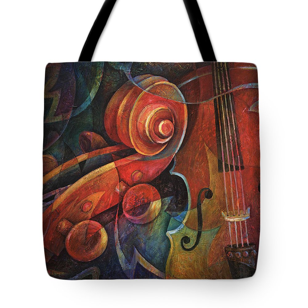 Susanne Clark Tote Bag featuring the painting Dynamic Duo - Cello And Scroll by Susanne Clark