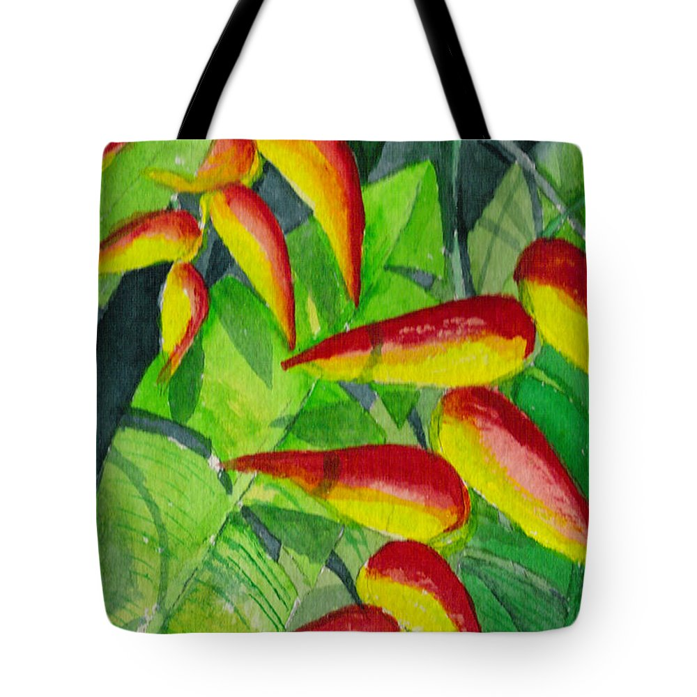 Red Tote Bag featuring the painting Dynamic Halakonia by Eric Samuelson