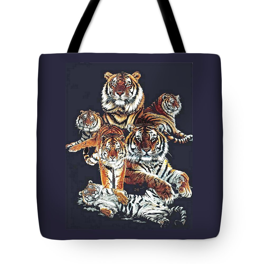 Tiger Tote Bag featuring the drawing Dynasty by Barbara Keith