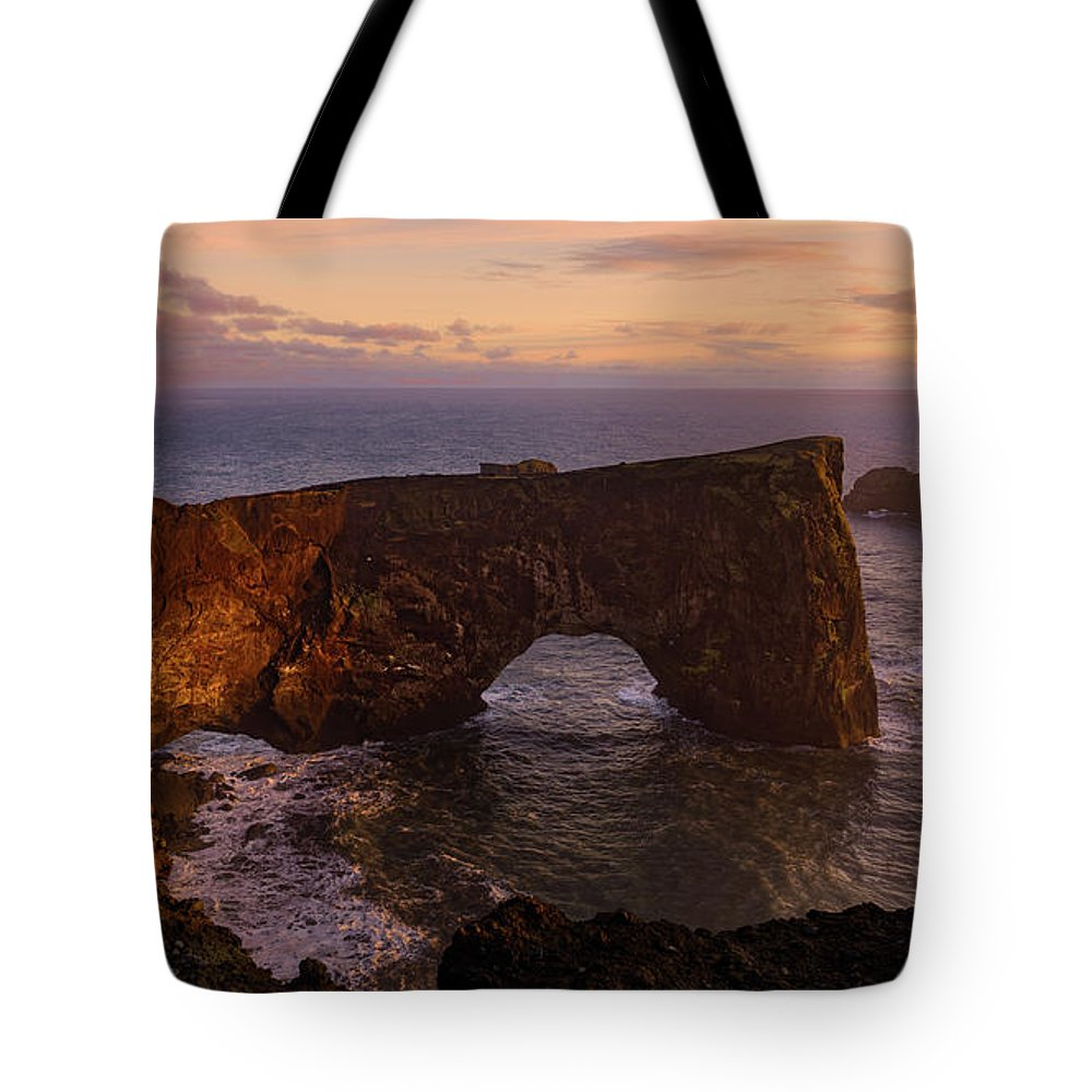 Arch Tote Bag featuring the photograph Dyrholaey Arch by Jerry Fornarotto