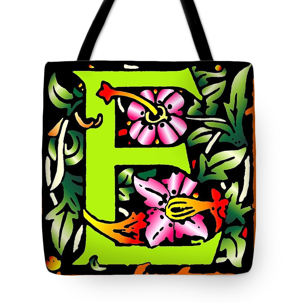 Alphabet Tote Bag featuring the digital art E In Green by Kathleen Sepulveda
