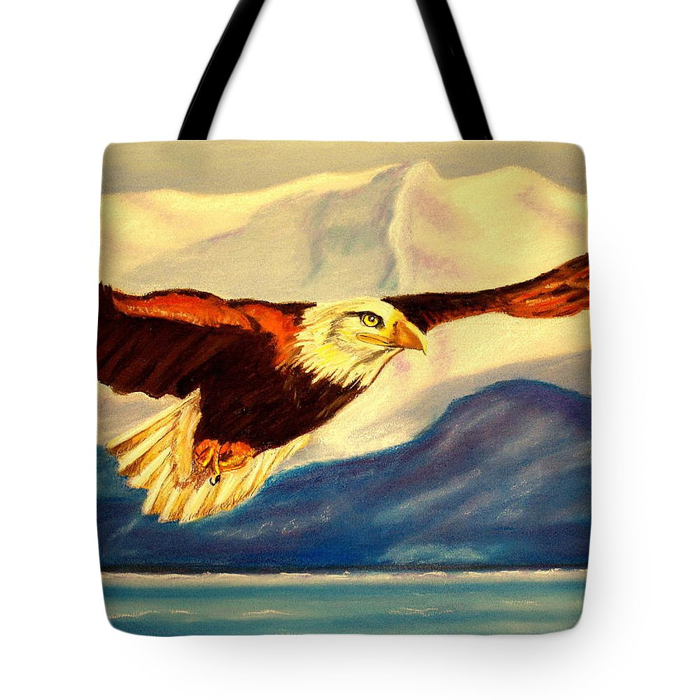 Eagle Tote Bag featuring the painting Eagle And Mountains by Jay Johnston