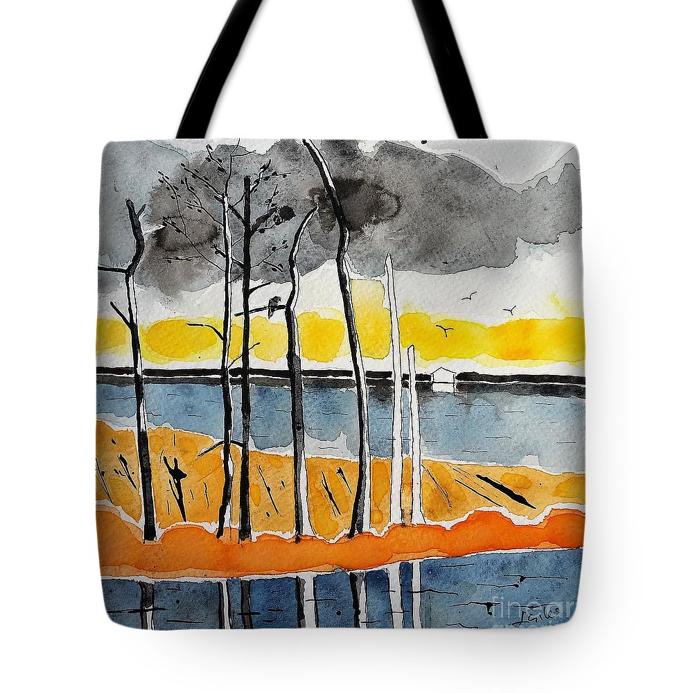 Eagle Tote Bag featuring the painting Eagle At Blackwater by Lesley Giles