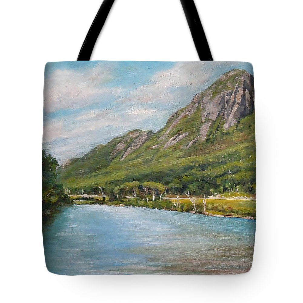 Eagle Cliff Tote Bag featuring the painting Eagle Cliff New Hampshire by Nancy Griswold