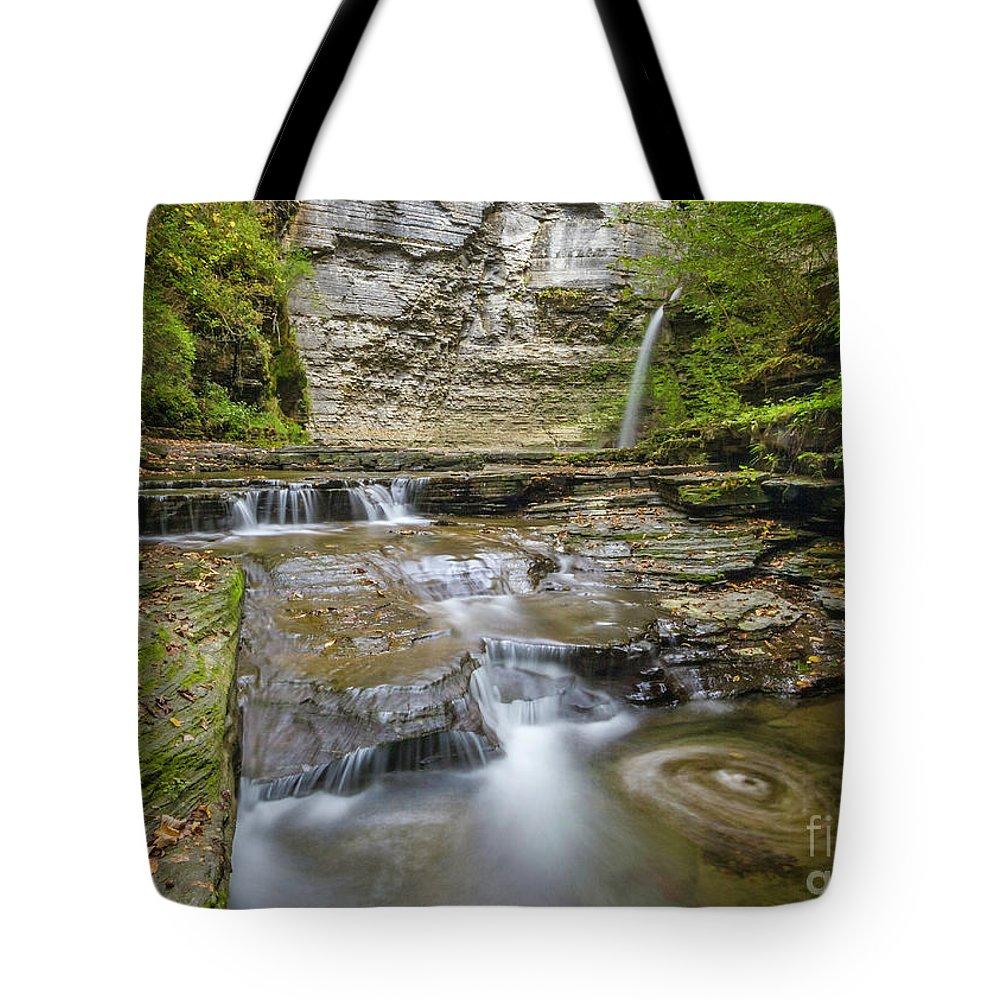 New York Tote Bag featuring the photograph Eagle Falls Havana Glen by Karen Jorstad