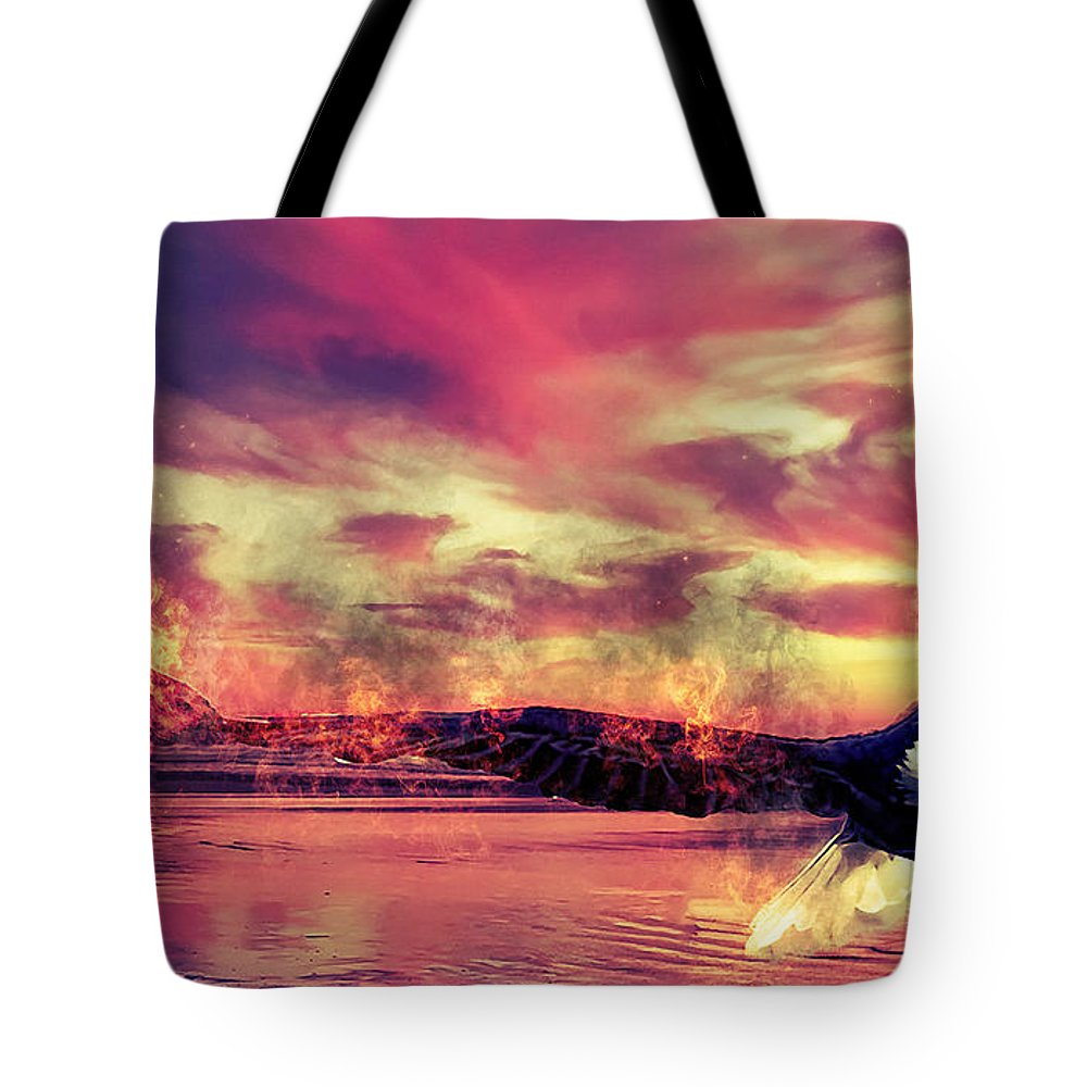 Eagle Tote Bag featuring the photograph Eagle In Fire by Clarence Alford