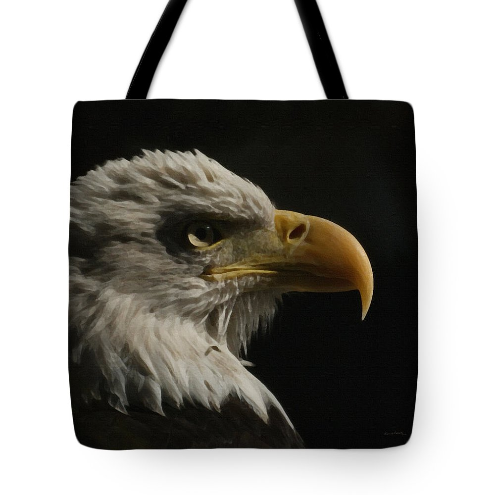 Animal Tote Bag featuring the digital art Eagle Profile 3 by Ernie Echols