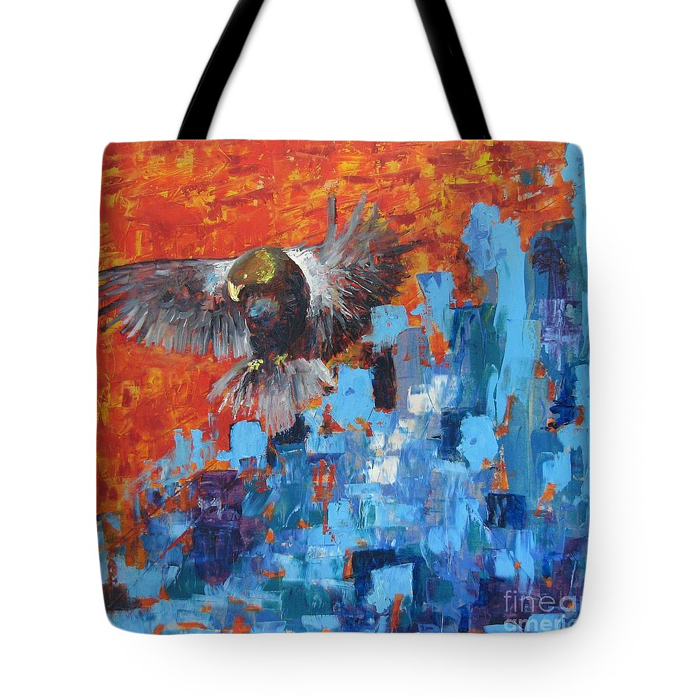 Nature Tote Bag featuring the painting Eagle by Stella Velka