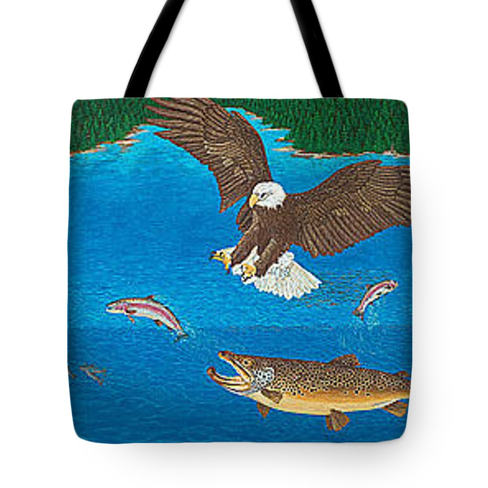 Art Print Prints Giclee Canvas Framed Brown Trout Eagle Lake Mountain Forest Nature Wildlife Wall Tote Bag featuring the painting Eagle Trophy Brown Trout Rainbow Trout Art Print Blue Mountain Lake Artwork Giclee Birds Wildlife by Baslee Troutman