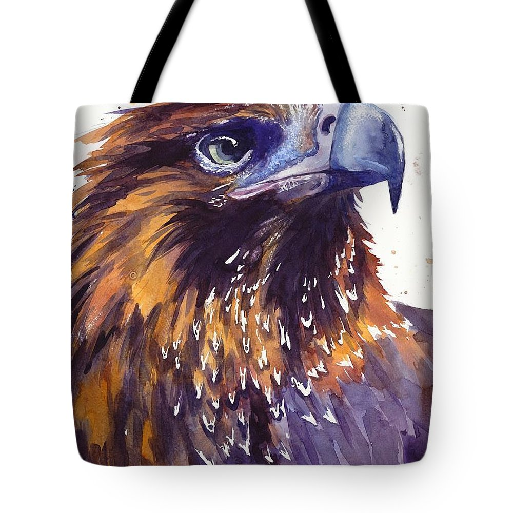 Pigeons Tote Bag featuring the painting Eagle's Head by Suzann Sines