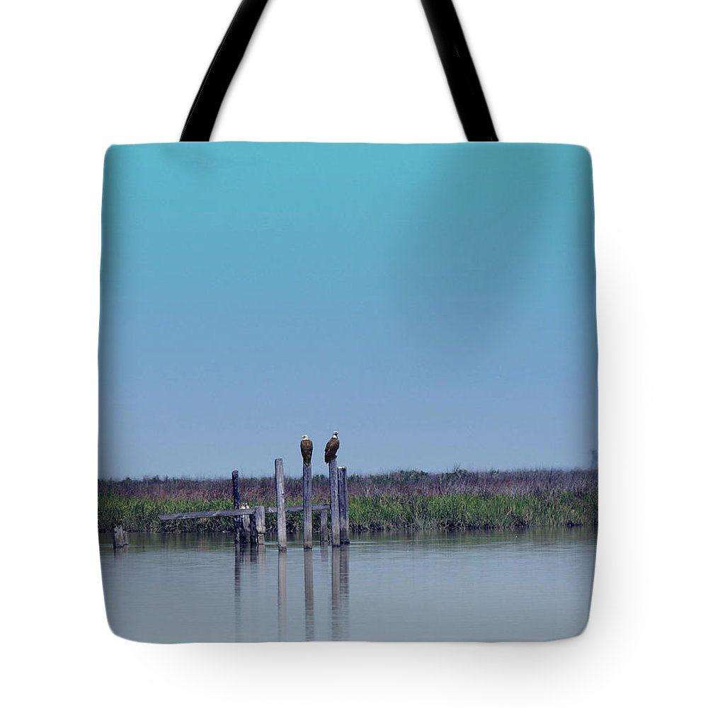 Eagles Tote Bag featuring the digital art Eagles Lookout by Kathleen Braza