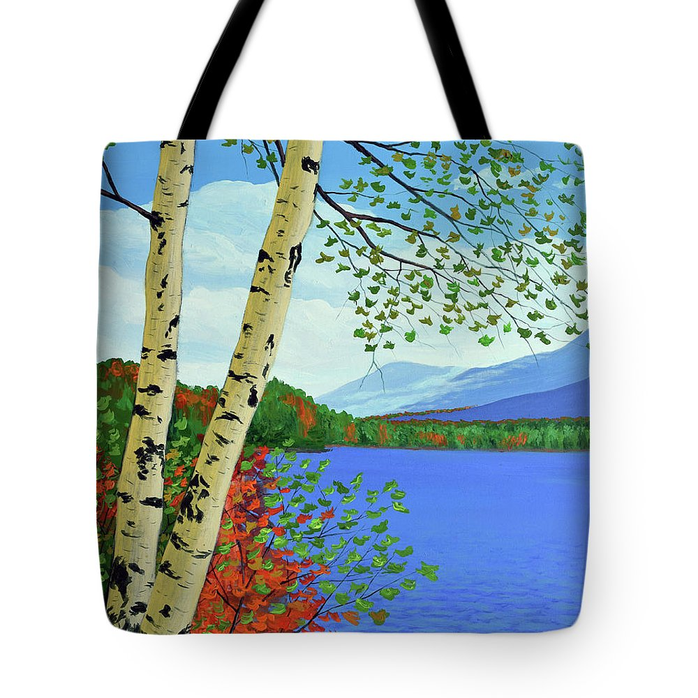Painting Tote Bag featuring the painting Early Autumn Birches by Eugene Kuperman