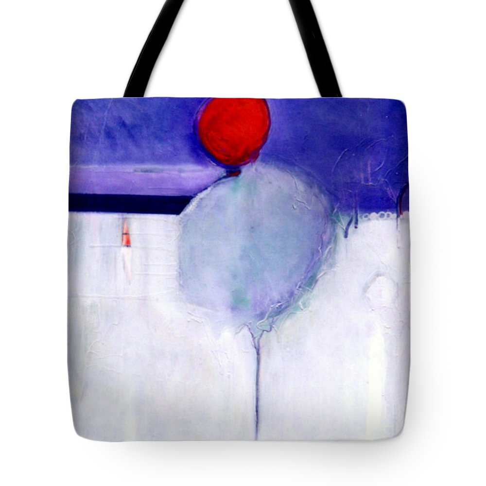 Abstract Tote Bag featuring the painting Early Blob 1 Optic Illusion by Marlene Burns