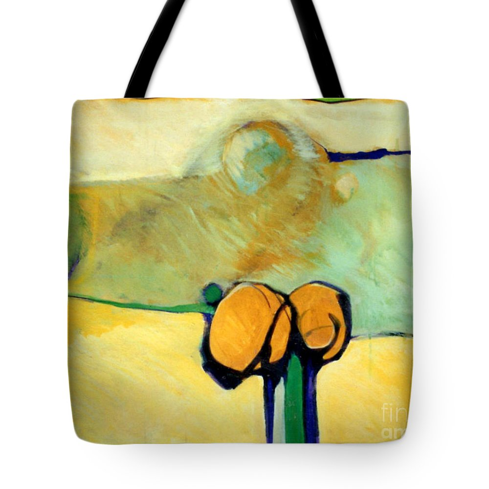 Abstract Tote Bag featuring the painting Early Blob 2 Jump Rope by Marlene Burns