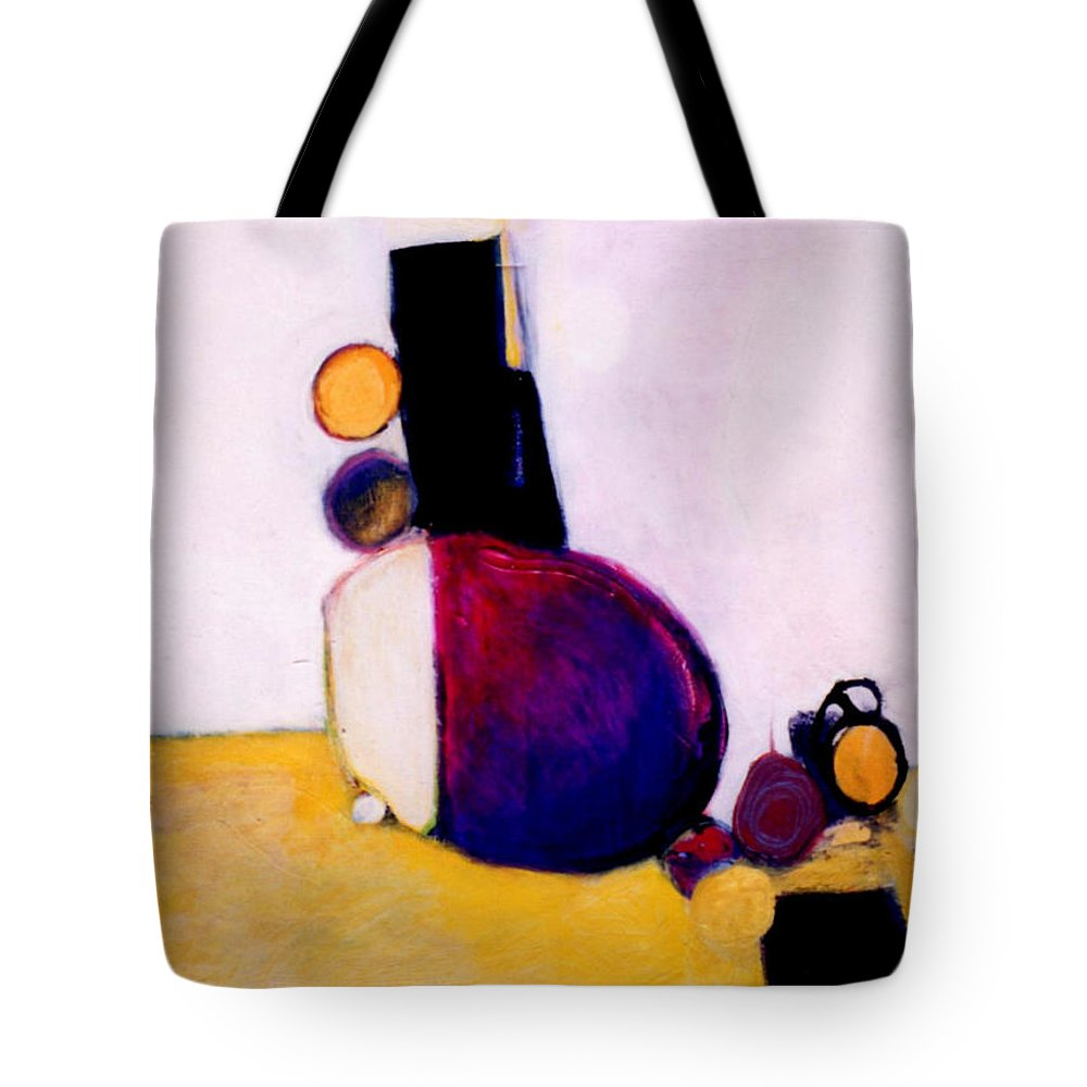Abstract Tote Bag featuring the painting Early Blob Having A Ball by Marlene Burns