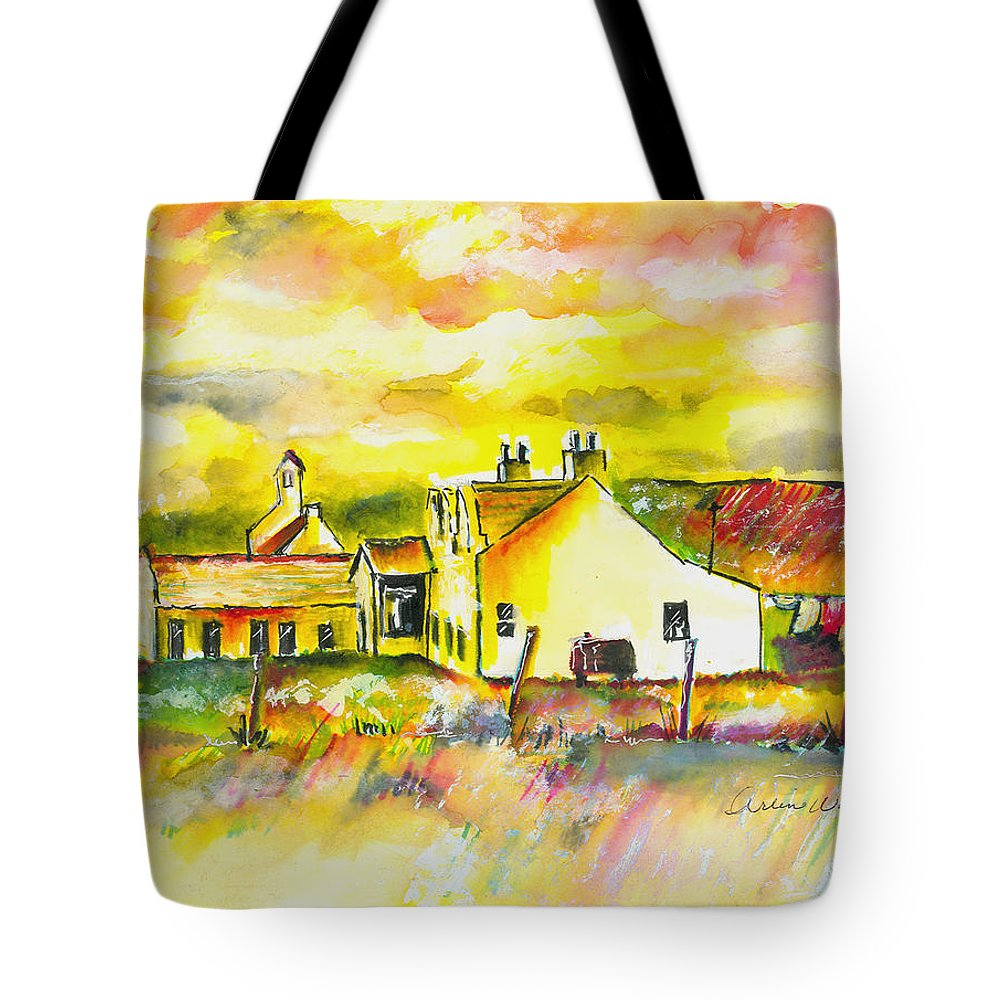 Barn Tote Bag featuring the painting Early Morning by Arline Wagner