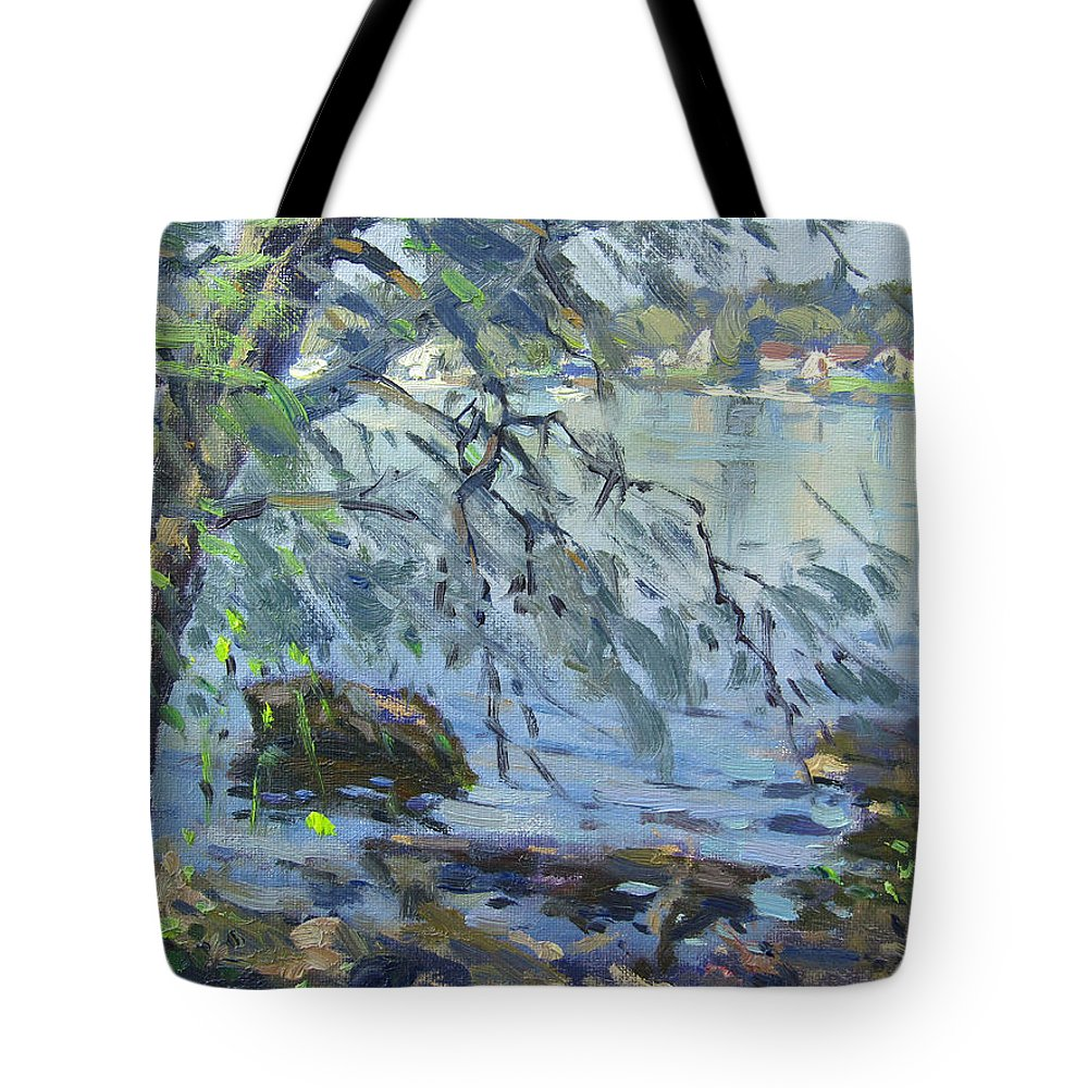 Early Morning Tote Bag featuring the painting Early Morning At Fisherman's Park by Ylli Haruni