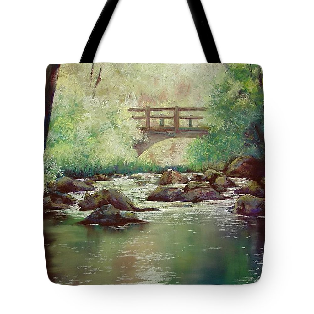 Landscape Tote Bag featuring the pastel Early Morning at Gulpha Gorge by Marlene Gremillion